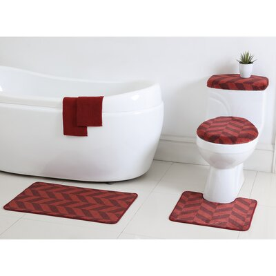 Josette 6 Piece Bath Rug Set Color: Red