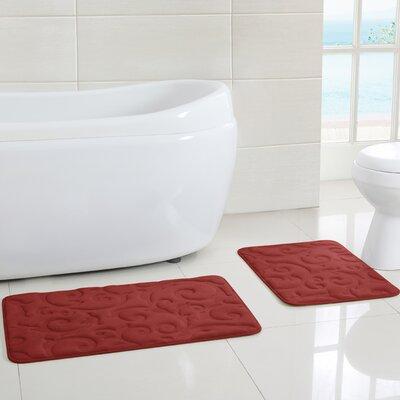 Scroll Memory Foam Embossed Bath Mat (Set of 2)