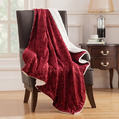 Camilla Embossed Mink Reversible Throw Color: Red