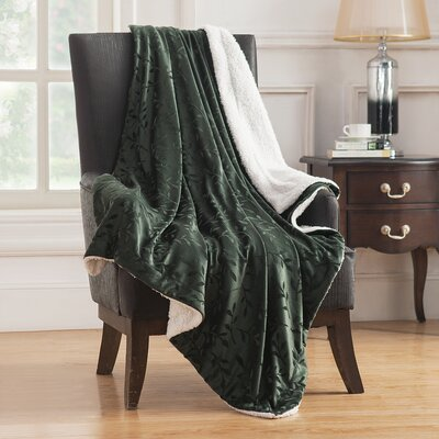 Camilla Embossed Mink Reversible Throw Color: Green