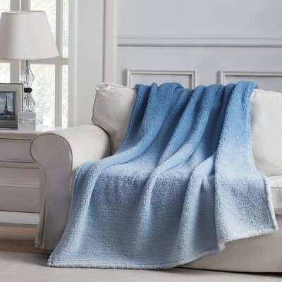 Jessica Ombre Throw Blanket Color: Blue