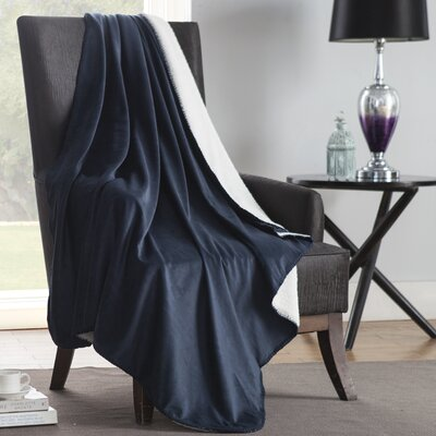 Solid Plush Throw Color: Blue