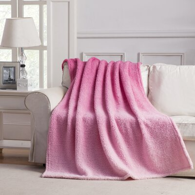 Jessica Ombre Throw Blanket Color: Pink