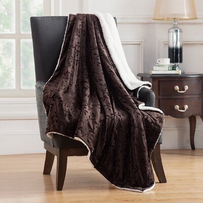 Camilla Embossed Mink Reversible Throw Color: Black