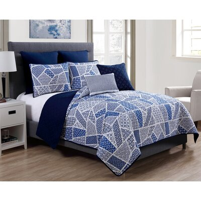 Spring Mountain 7 Piece Reversible Quilt Set Size: King