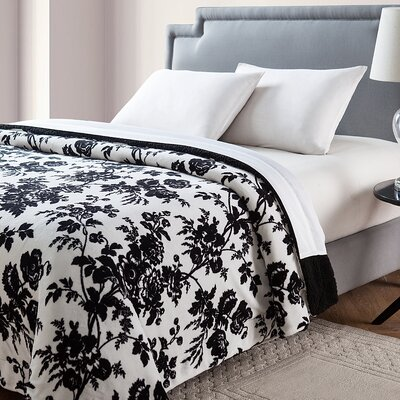 Floral Giverny Printed Sherpa Reversible Blanket Size: King