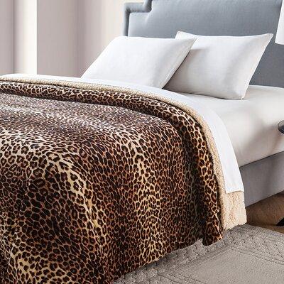 Nigel Animal Printed Sherpa Reversible Blanket Size: Twin