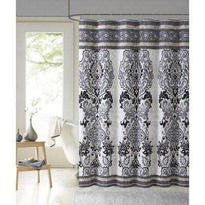Mariah Cotton Shower Curtain Color: Black