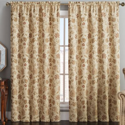 VCNY Nottingham Nature/Floral Blackout Rod Pocket Single Curtain Panel