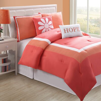 Hotel Juvi Comforter Set Color: Coral, Size: Full
