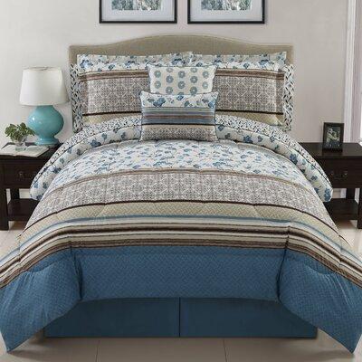 Delancey 10 Piece Comforter Set Color: Blue, Size: Queen