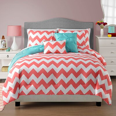 Sophia 5 Piece Reversible Comforter Set Size: Full / Queen