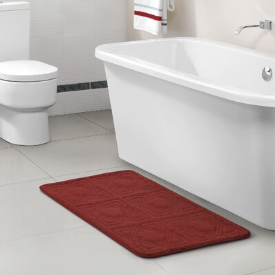 Byzantine Memory Foam Embossed Black Bath Rug Color: Burgundy