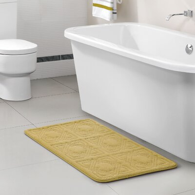 Byzantine Memory Foam Embossed Black Bath Rug Color: Soft Yellow