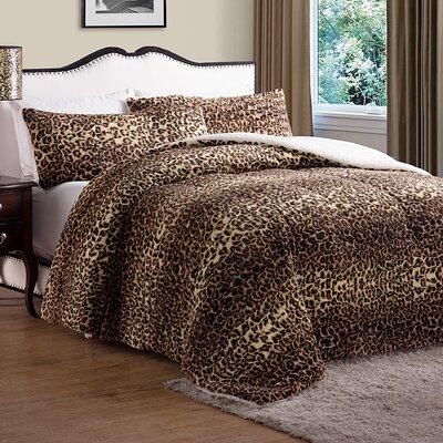 Drago Animal Faux Fur Comforter Size: Queen