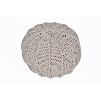 Cable Knitted Round Pouf Color: Khaki
