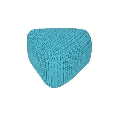 Majestic Knitted Triangle Pouf Upholstery: Aqua
