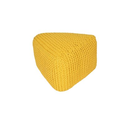 Majestic Knitted Triangle Pouf Upholstery: Yellow