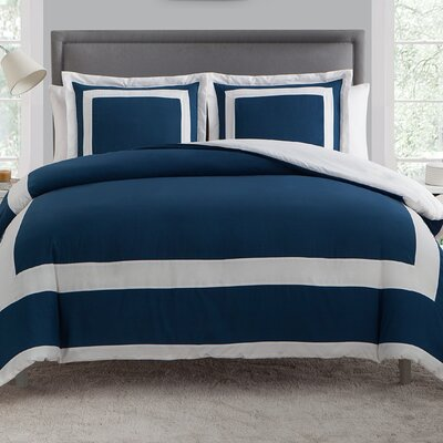 Avianna 3 Piece Duvet Set Color: Blue, Size: Queen