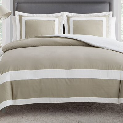 Avianna 3 Piece Duvet Set Color: Taupe, Size: Queen