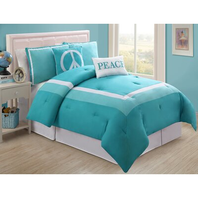 Hotel Juvi Comforter Set Color: Turquoise, Size: Full