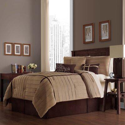 Ellington 7 Piece Comforter Set Color: Taupe, Size: Queen