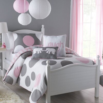 Parade Comforter Set in Pink, White, And Gray Size: Twin