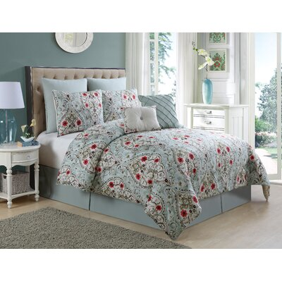Junia 8 Piece Comforter Set Color: Blue, Size: Queen
