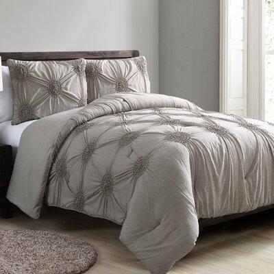 Goodwin 3 Piece Comforter Set Color: Camel, Size: Full/Queen