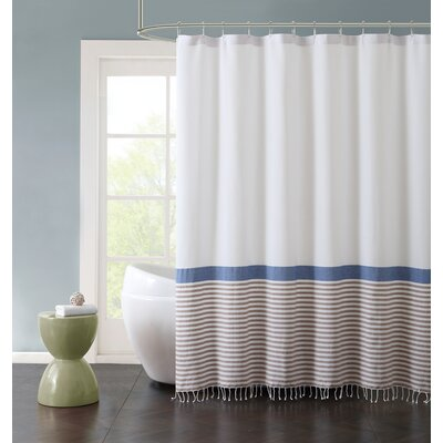 Bihari Striped Cotton Fringe 72 X 72 Shower Curtain