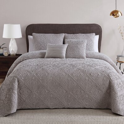 Keira 5 Piece Quilt/Coverlet Set Color: Taupe