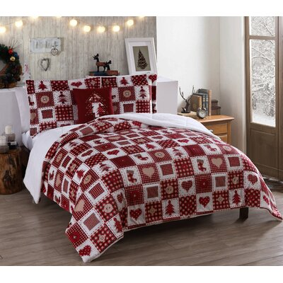 Holiday Patchwork Micro Mink Comforter Set Size: Queen