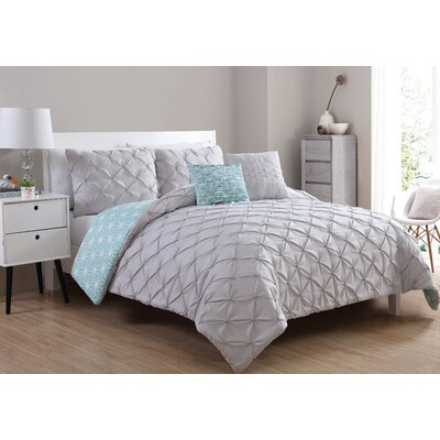 Fredy Modern Reversible Comforter Set Color: Hydrangea