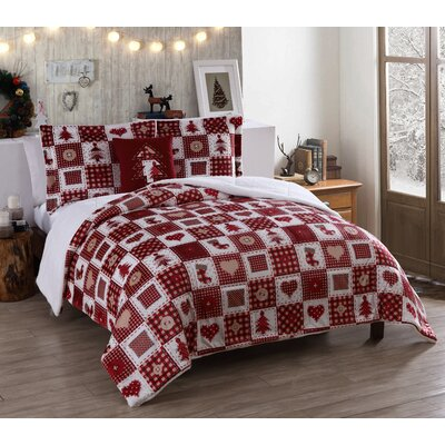 Holiday Patchwork Micro Mink Comforter Set Size: Twin