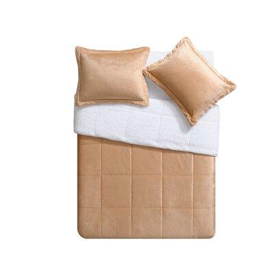 Micro Mink Sherpa Comforter Set Color: Camel