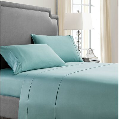 Solid 300 Thread Cotton Sheet Set Color: Aqua, Size: Twin