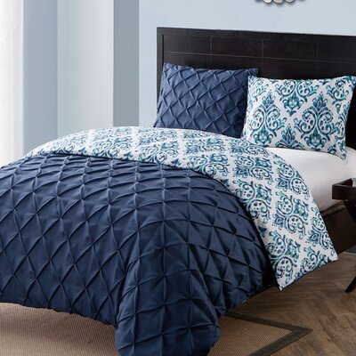Thaddeus 3 Piece Reversible Duvet Set Color: Navy, Size: Queen
