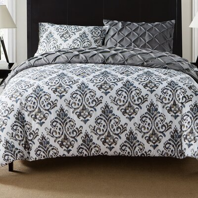 Thaddeus 3 Piece Reversible Duvet Set Color: Gray, Size: Queen