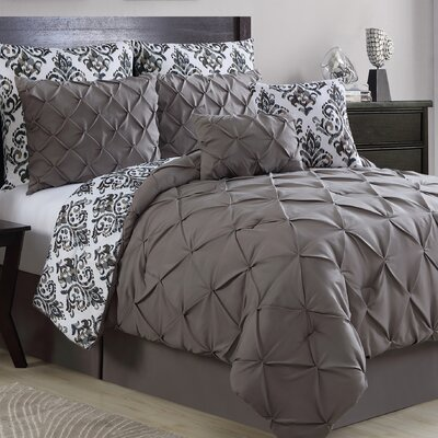 Thaddeus 8 Piece Reversible Comforter Set Color: Gray, Size: Queen