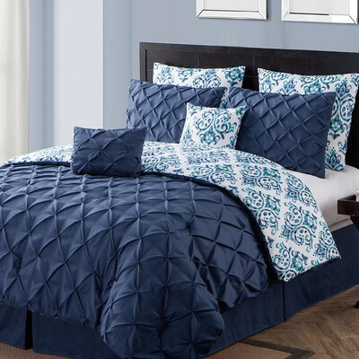 Thaddeus 8 Piece Reversible Comforter Set Color: Navy, Size: Queen
