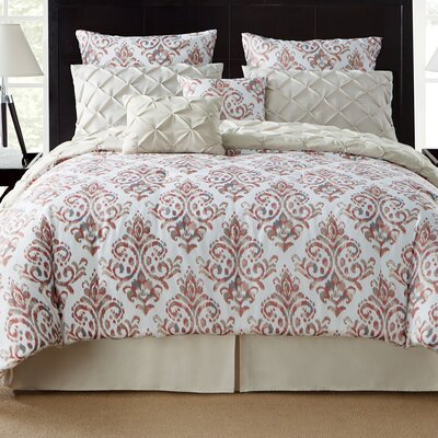 Thaddeus 8 Piece Reversible Comforter Set Color: Taupe, Size: Queen