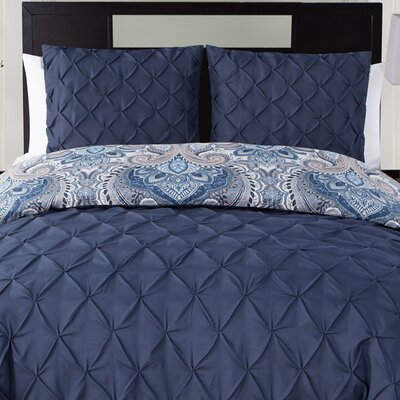 Abbate 3 Piece Reversible Duvet Set Color: Navy