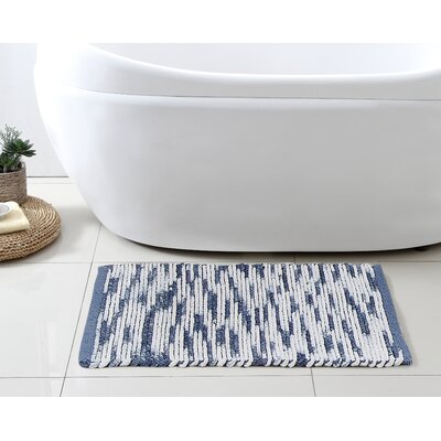 Stax Space Dye Cotton Bath Rug Color: Blue, Size: 21 x 34