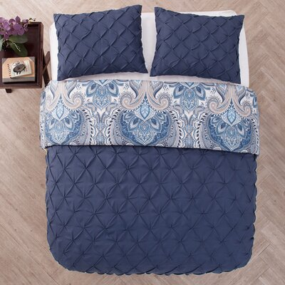 Lammers 3 Piece Reversible Duvet Set Color: Navy