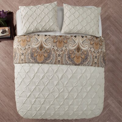 Lammers 3 Piece Reversible Duvet Set Color: Taupe