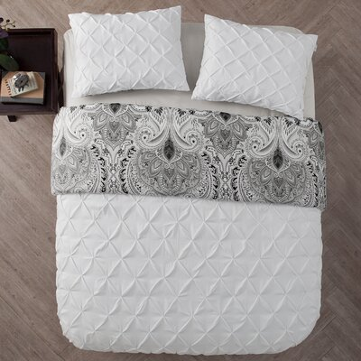 Lammers 3 Piece Reversible Duvet Set Color: White
