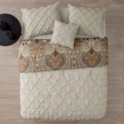 Lammers 4 Piece Reversible Comforter Set Color: Taupe, Size: King
