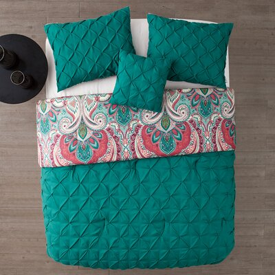 Lammers 4 Piece Reversible Comforter Set Color: Turquoise, Size: Queen