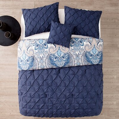 Lammers 4 Piece Reversible Comforter Set Color: Navy, Size: King