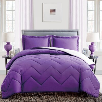 Caribbean Joe 3 Piece Queen Reversible Comforter Set Color: Purple